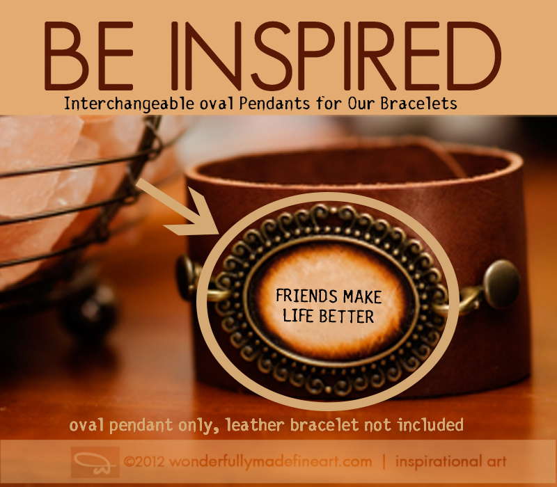 interchangeable pendants for inspirational leather cuff